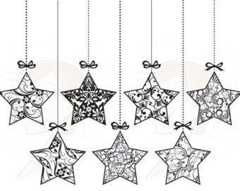 Christmas Star Clip Art Black And White Retro Ornaments Christmas Owls Christmas Tree Star