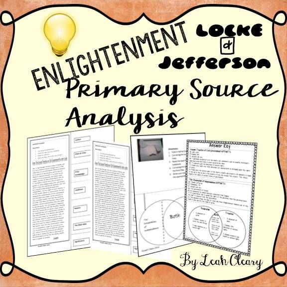 Enlightenment Primary Source Analysis Graphic organizers, Venn - what is an analysis