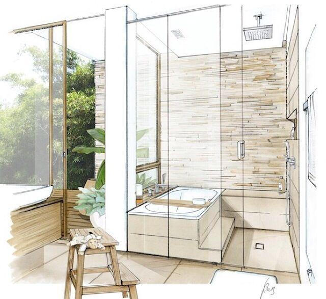 Bathroom sketch id sketches rendering pinterest for Bathroom design drawings
