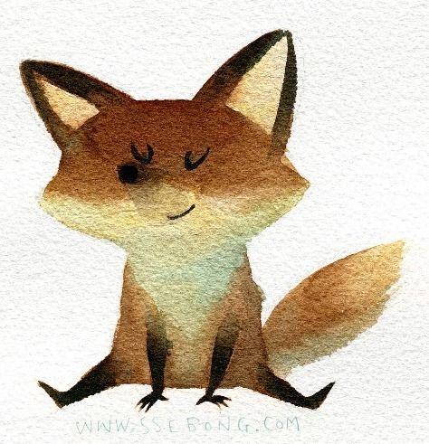 Little fox illustration print by ssebong art illustration2 renard dessin renard - Dessin renard ...
