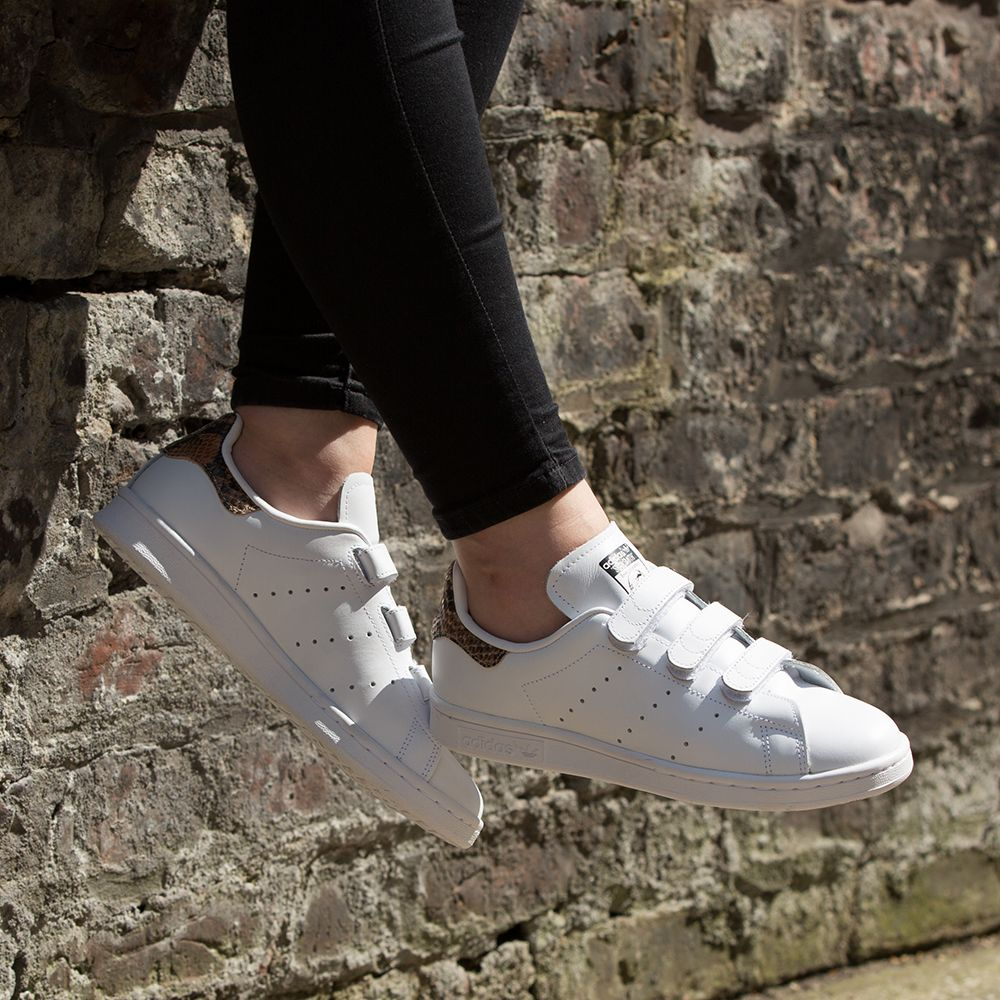 cef88f5ef The adidas Originals Womens Stan Smith CF Trainer in white.