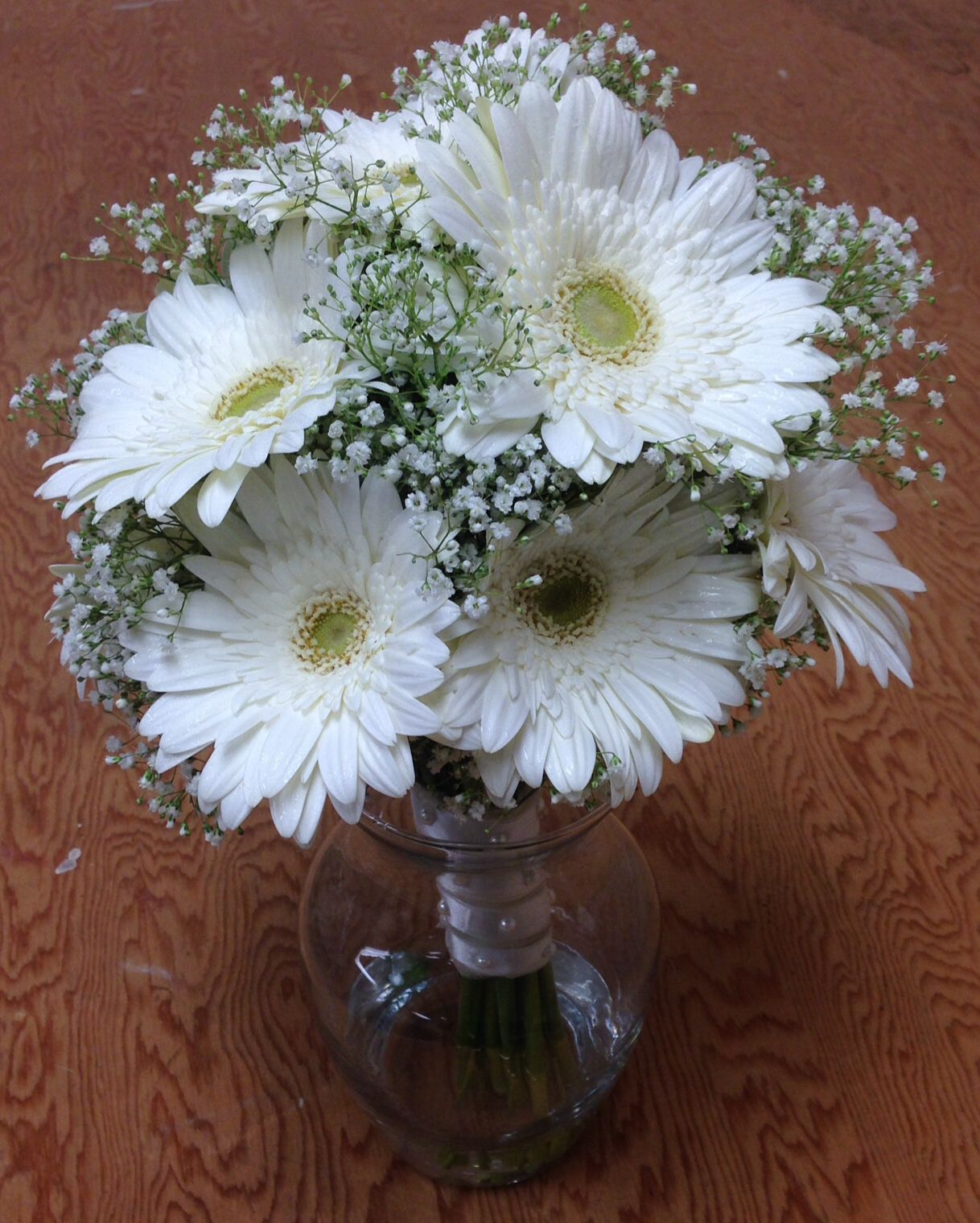 Brides bouquet, white gerber daisies, babies breath