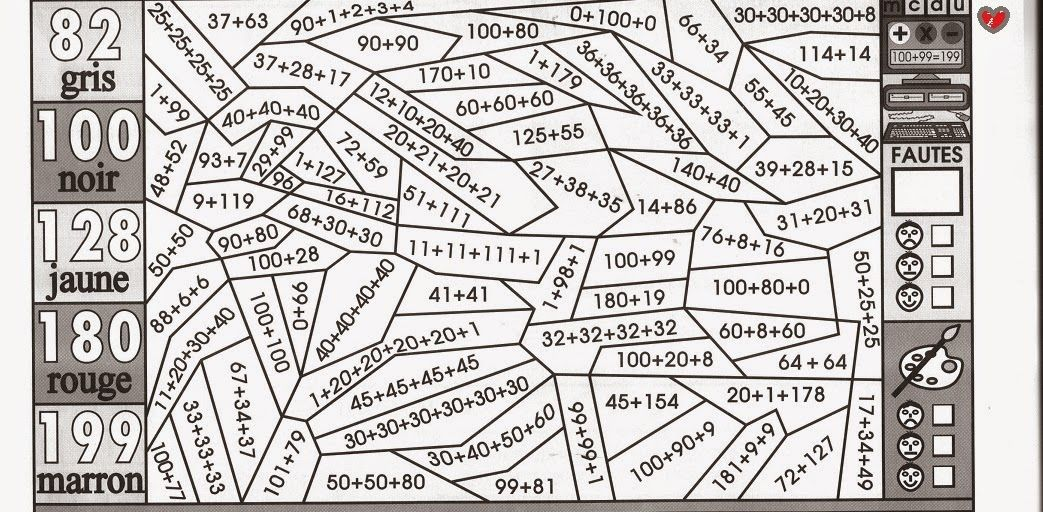 imprimer coloriage magique math calcul addition ce1 et ce2 ecole