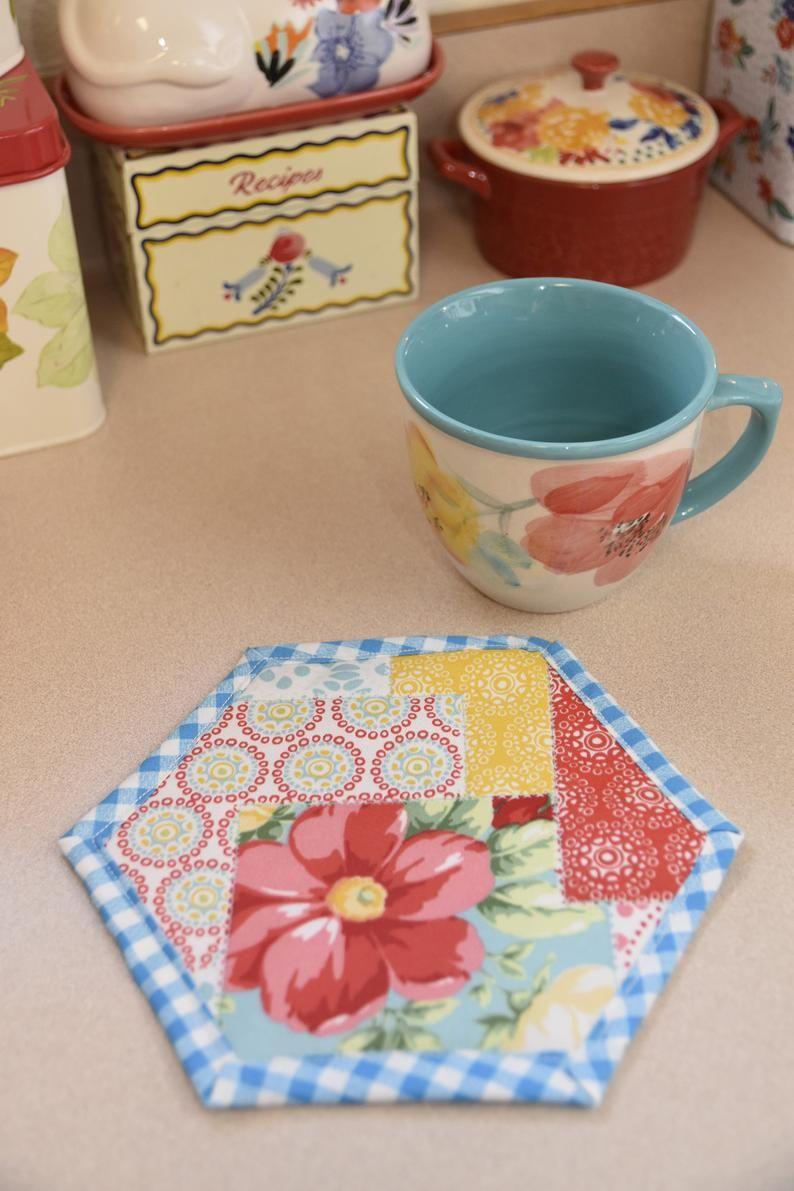Pioneer Womankitchen Decorquilted Mug Rugsfarmhouse Etsy In 2020 Pioneer Woman Kitchen Decor Mug Rugs Coffee Decor Kitchen