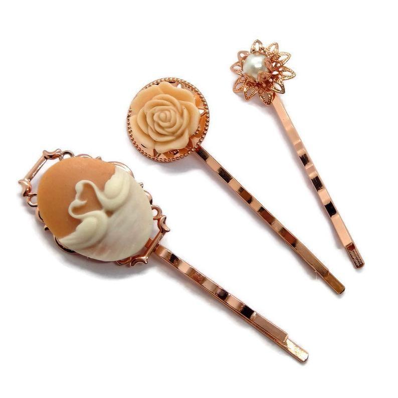 Peach Swan Cameo Hair Pins Bird Bobby Pin Set of 3 Wedding ...