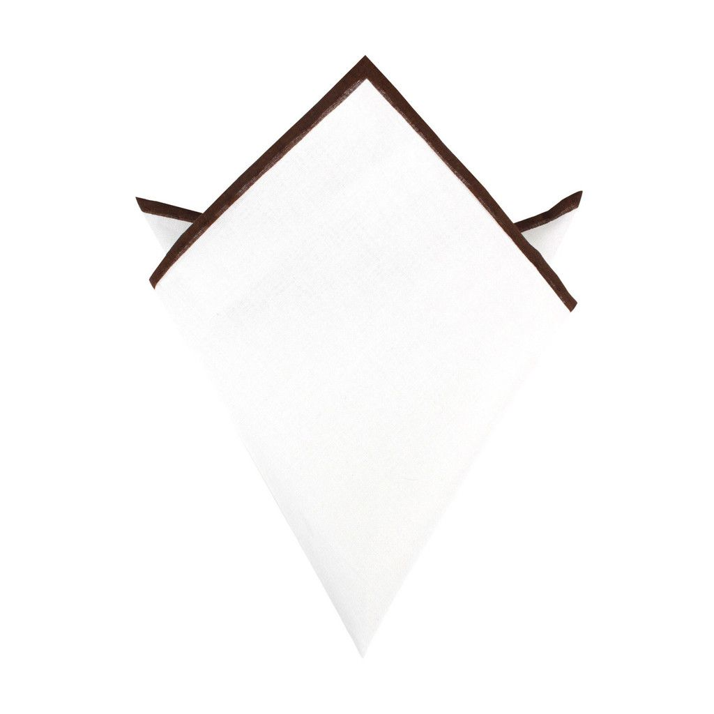 White Cotton Pocket Square with Brown Border
