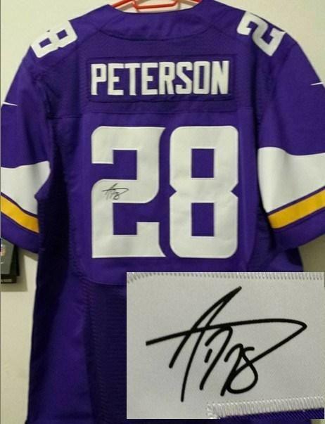 3bcfb2d57 Nike Minnesota Vikings 28 Adrian Peterson Purple Signed Elite NFL Jerseys  New Style