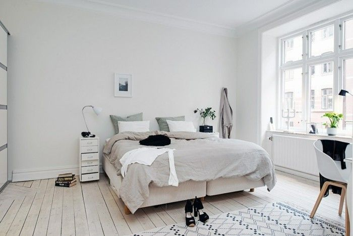 wohnideen schlafzimmer skandinavischer stil weiße wände pflanzen ...