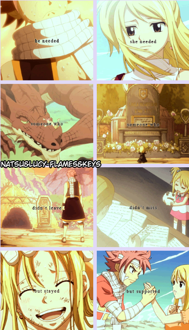 He needed someone who didn't leave, but stayed. She needed someone who didn't miss, but supported. They needed each other. Natsu x Lucy