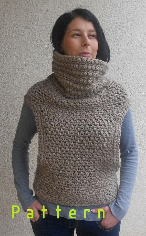 Patrón de ganchillo para la bufanda de chal chaleco capucha | poncho ...