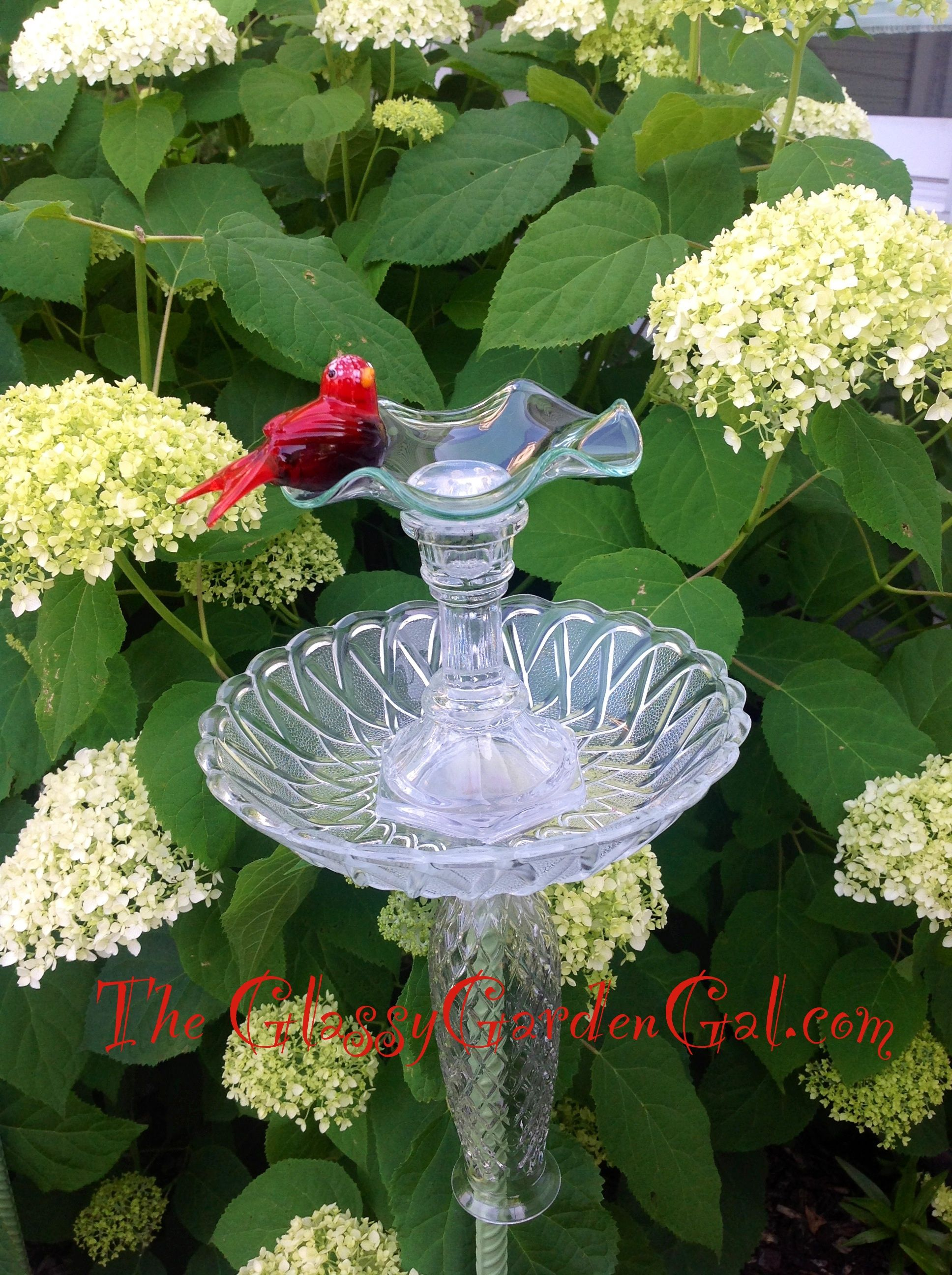 Bird feeder glass garden art yard art repurposed for Recycled glass art projects