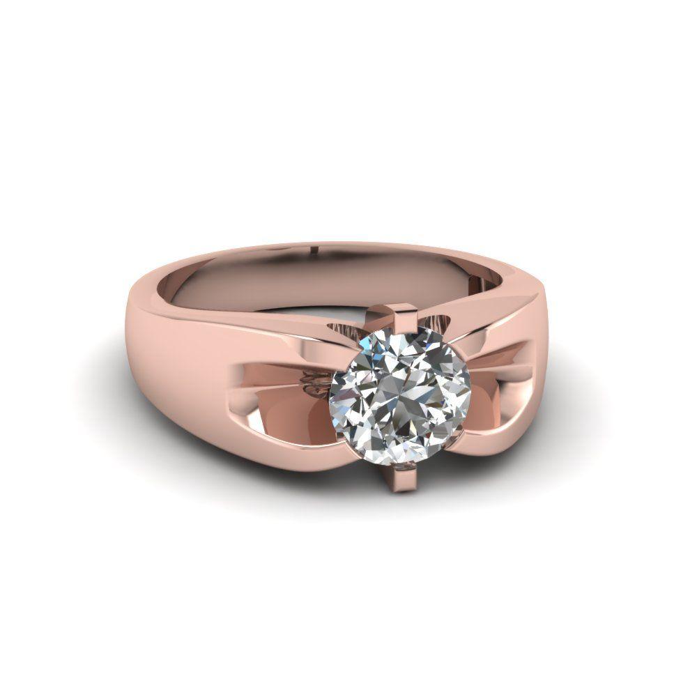 1 Carat Diamond Mens Wedding Ring In 18k Rose Gold Mens Gold Diamond Rings Mens Yellow Gold Wedding Bands Men Diamond Ring