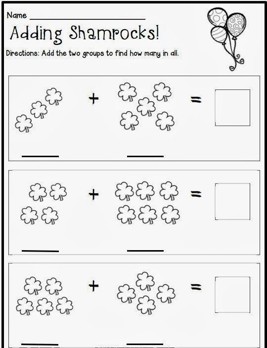 St Patrick S Day Addition Worksheet Crafts And Worksheets For Preschool Toddler And Kinderga March Kindergarten Kindergarten Math Kindergarten Worksheets