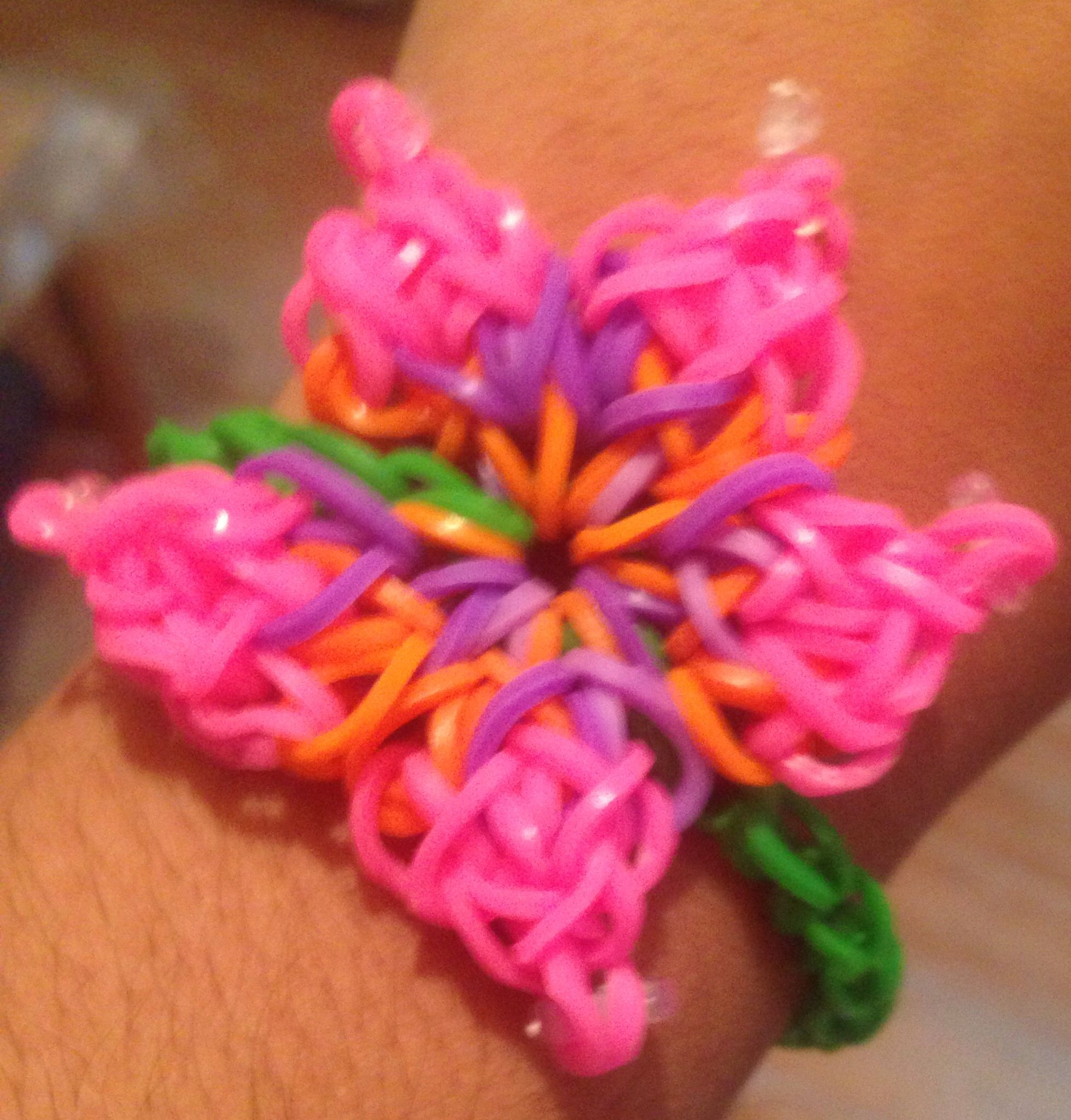 Hibiscus Flower Rubber Band Bracelet Loom Bands Rubber Band Bracelet Rainbow Loom