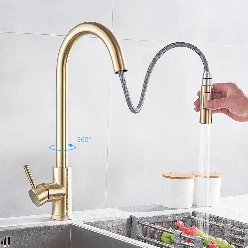quyanre brushed gold kitchen faucet