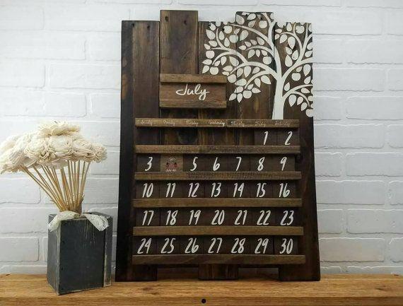Wood Wall Calendar Wooden Calendar Perpetual Calendar Wooden