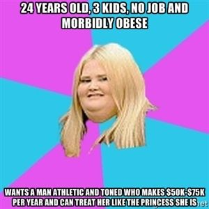 24 Years Old 3 Kids No Job And Morbidly Obese Wants A Man Athletic Funny Happy Birthday MemeFunny