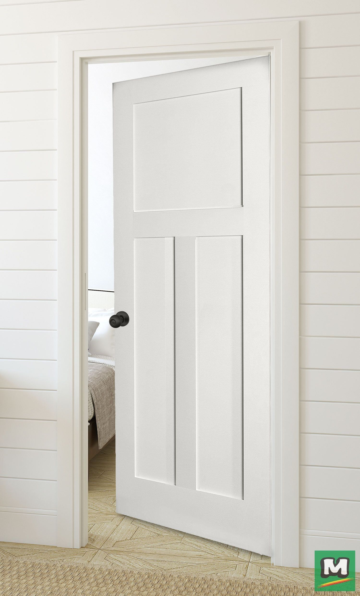 The Three Panel Door From Mastercraft Offers The Look Of A Handcrafted Door Wi 1000 In 2020 Prehung Interior Doors White Interior Doors Black Interior Doors