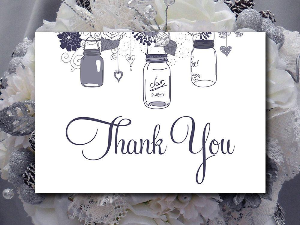 Wedding Thank You Card Printable - Mason Jar Pewter Invitation