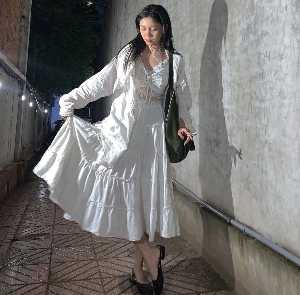Pin By Sha On Korean Fashion Fashion White Dress Victorian Dress [ 1006 x 1024 Pixel ]