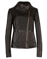 JESMIN - High collar leather jacket