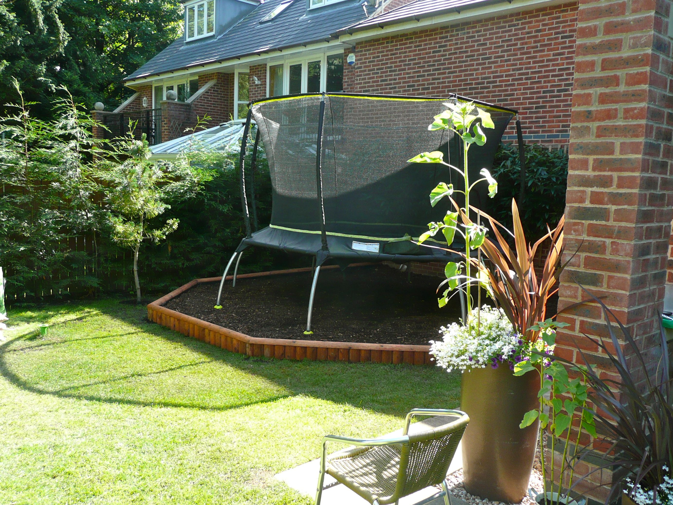 Landscape Under Trampoline Google Search Backyard Toys Small Landscaping Patio