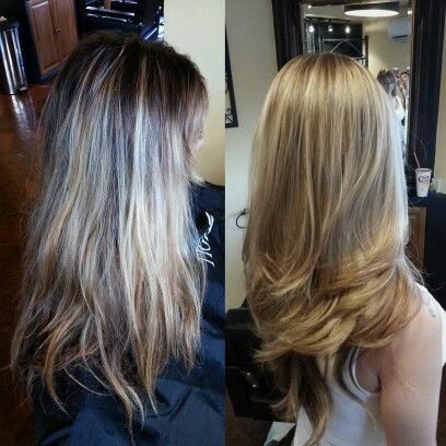 Before and after. Gorgeous blonde and haircut by Sharon @sanctuarysalon808
