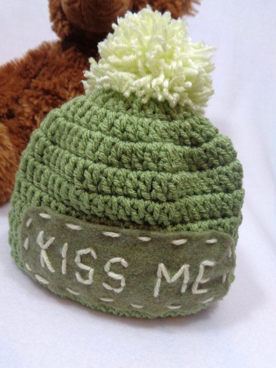 St. Patrick's Day Hat Olive Green Kiss Me by crochetedbycharlene