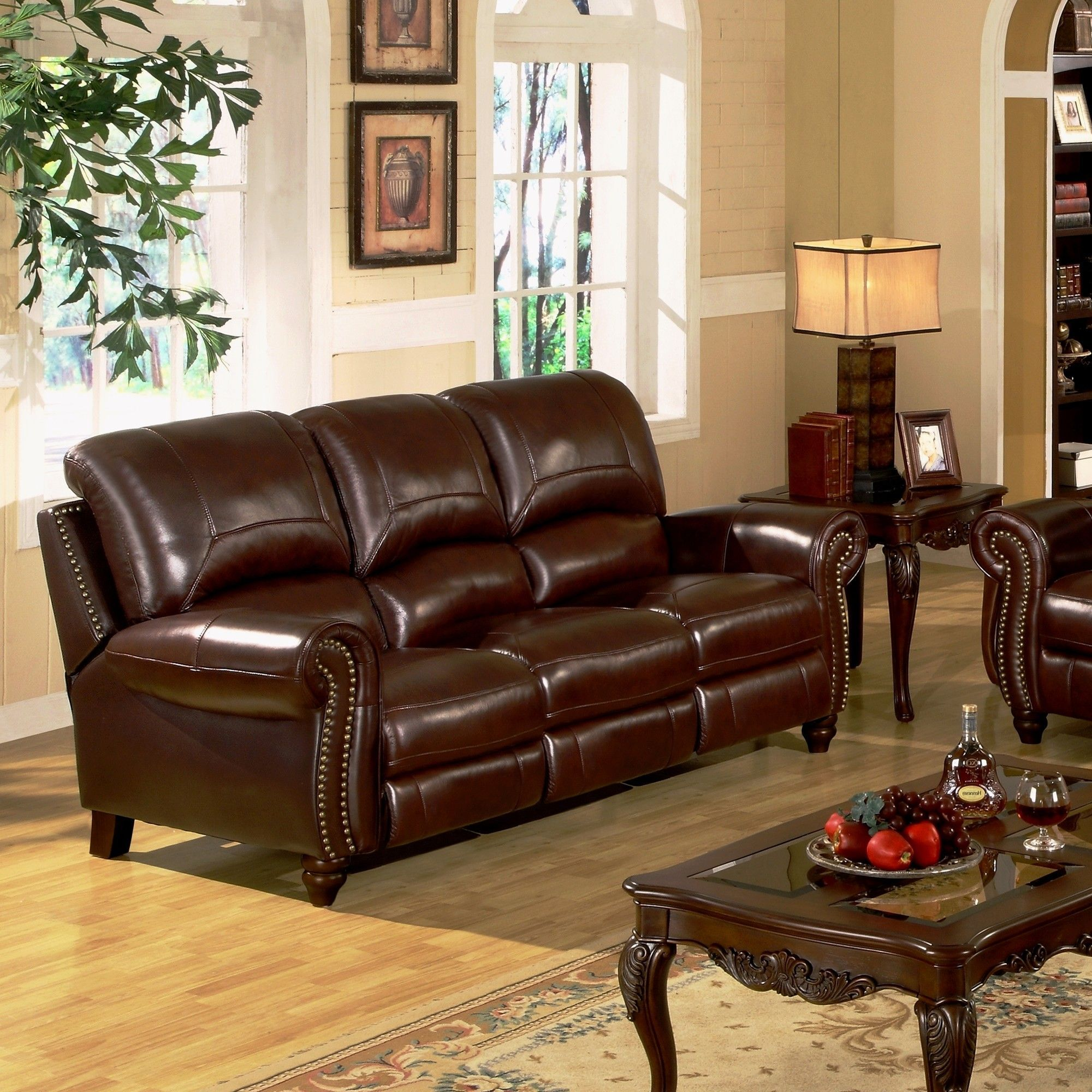 Abbyson Living Charlotte Leather Reclining Sofa U0026 Reviews | Wayfair