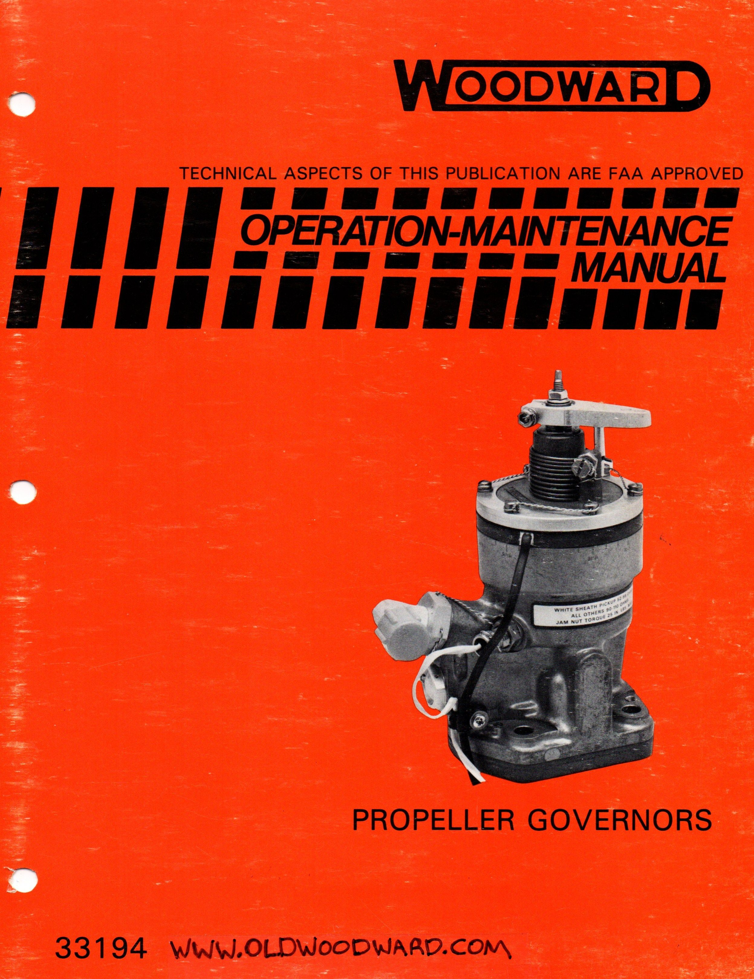 Woodward CSSA Propeller Governor manual 33194. Aircraft Propeller, Aircraft  Engine, Woodward Governor,