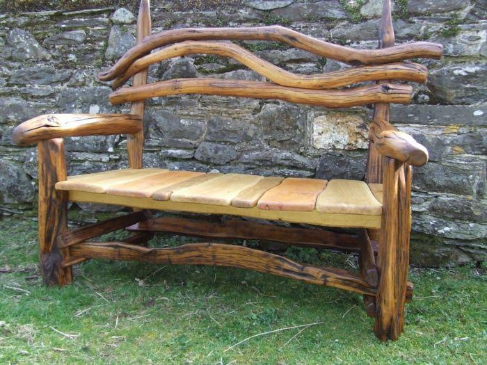 Rustikale Gartenbank Garten Steine Holz