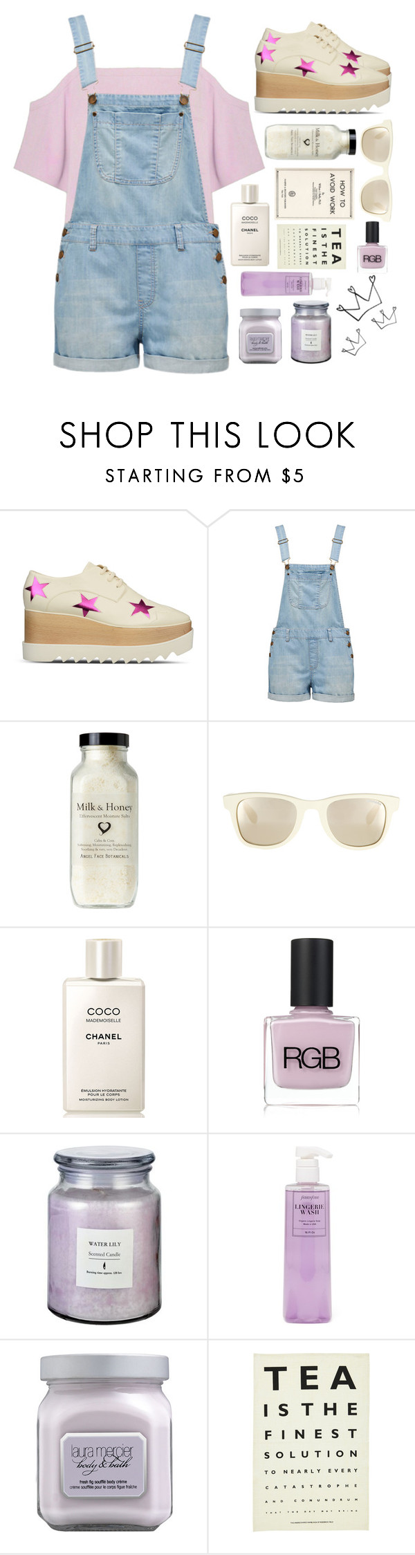 """""""Perfect disasters"""" by xniko ❤ liked on Polyvore featuring STELLA McCARTNEY, Forever New, Carrera, Chanel, RGB Cosmetics, Fashion Forms, Laura Mercier, Ulster Weavers, ivory and overall"""