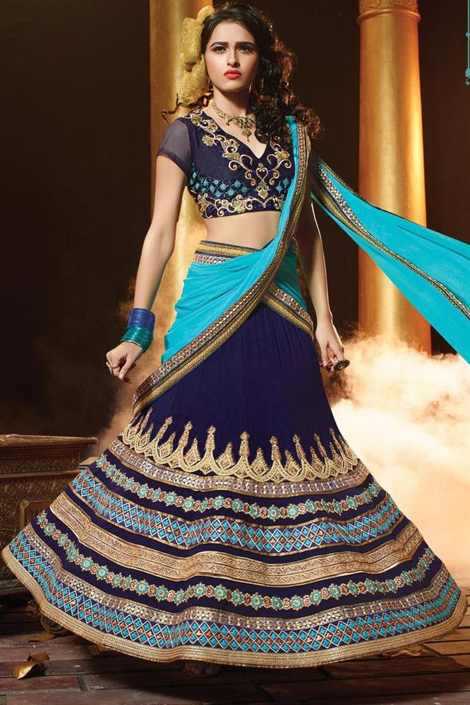 Navy Blue Georgette Bridal Lehenga Choli Online Fashion