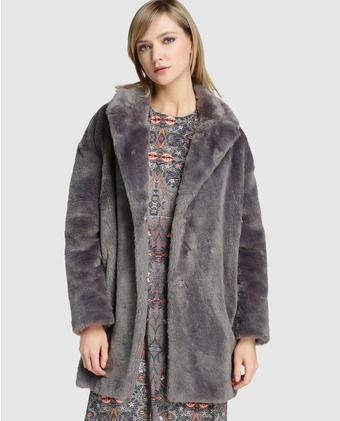 Abrigo pelo gris mujer