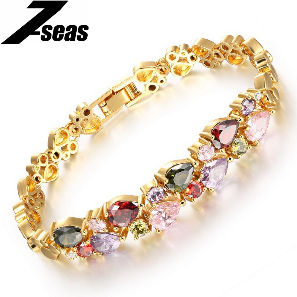 Free shipping colorful cubic zircon austrian crystal bracelets