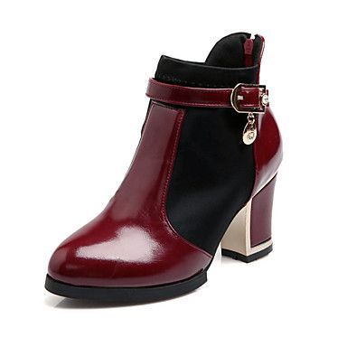 3999 Womens Shoes Patent Leather Winter Fall Chunky Heel  24Approx508cm1016cm 68Approx1524cm2032cm Booties Ankle  Boots Zipper