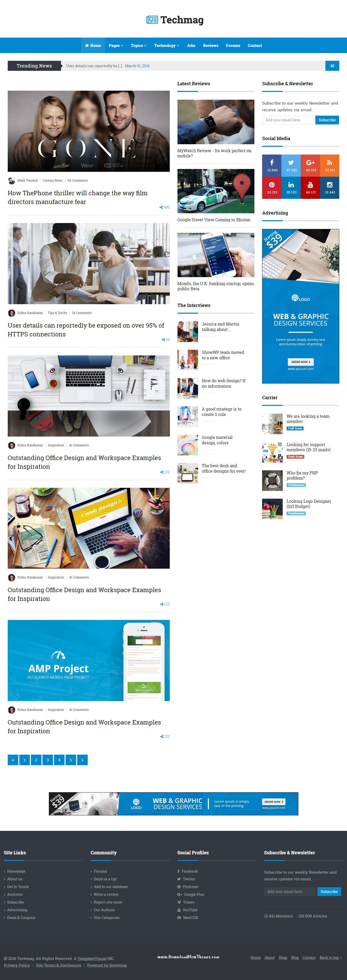 TechMag - News and Magazine BootStrap Template | Template and ...