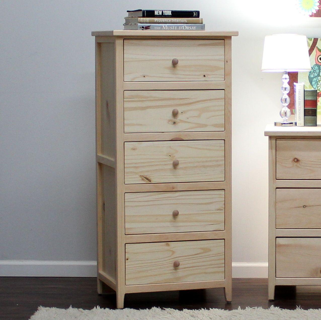 Little Neck Five Drawer Chest 18 X 24 X 52 Pine Wood Dresser Decor Tall Nightstand Skinny Dresser