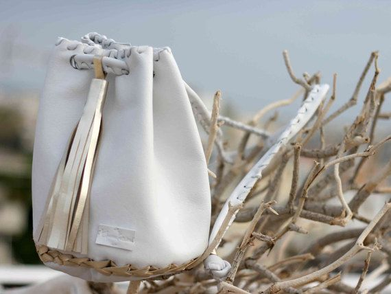 Leather White gold Bag  Bucket Purse with Long by EleannaKatsira