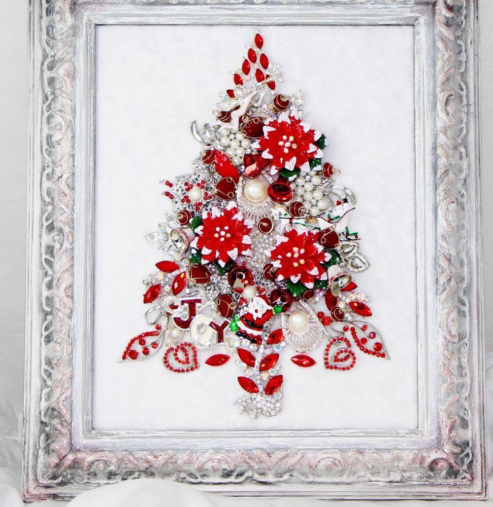 Keepsake vtg framed rhinestone jewelry christmas tree red for Poinsettia christmas tree frame
