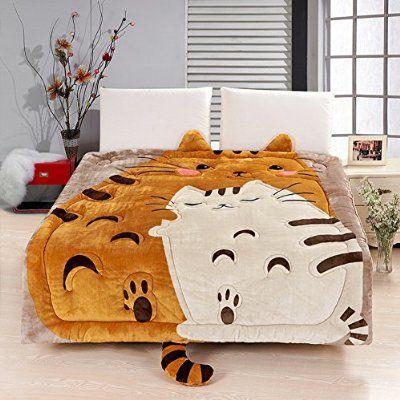 Memorecool Upgrade Flannel Totoro Bed Cover Cute Cartoon