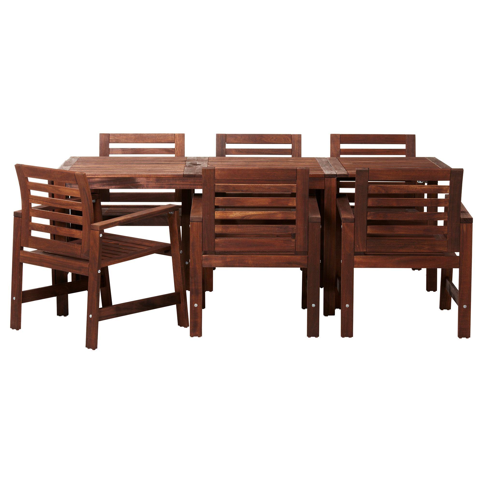 ÄPPLARÖ Mesa+6sill reposabr ext, tinte marrón marrón | Ikea, Sillas ...