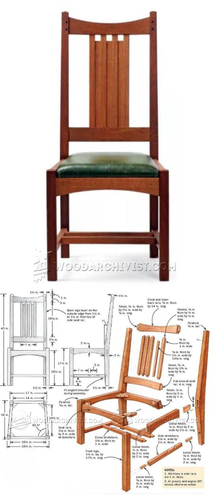 Arts and crafts furniture plans - Arts And Crafts Side Chair Plans Furniture Plans And Projects Woodarchivist Com
