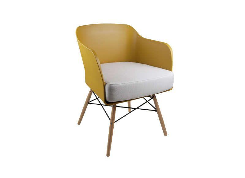 chaise scandinave avec coussin jaune alwa - Chaise Scandinave Jaune