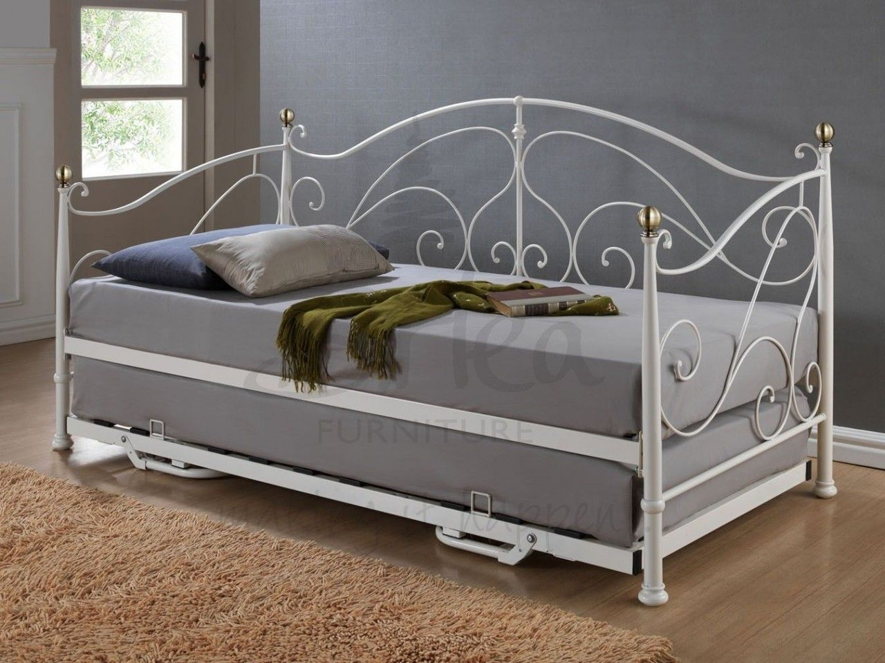 Classic Daybed With Trundle In Pure Grey Mattress White Metal Framed And  Brown Fur - Furniture. Classic Daybed With Trundle In Pure Grey Mattress White