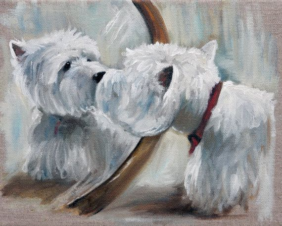 MARY SPARROW Westie West Highland Terrier Dog Art Oil Painting PRINT MSSMITH