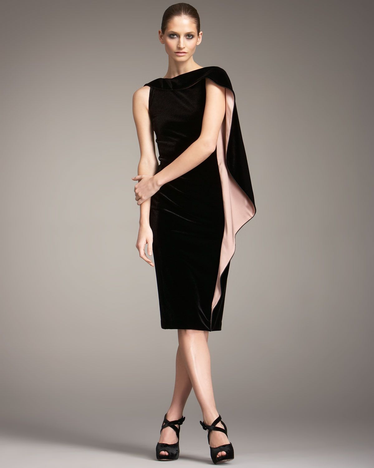 Black Dress With Cascading Cape Sleeve Contrasting Lining In Powder Pink Understated Elegant Style Giorgio Armani