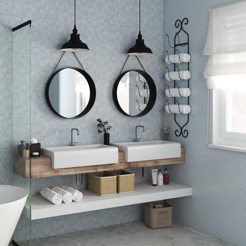 Nordic Bathroomdesign: Mosa Que D Cor H Xagonal Verre Recycl Bleu Clair, 31x32
