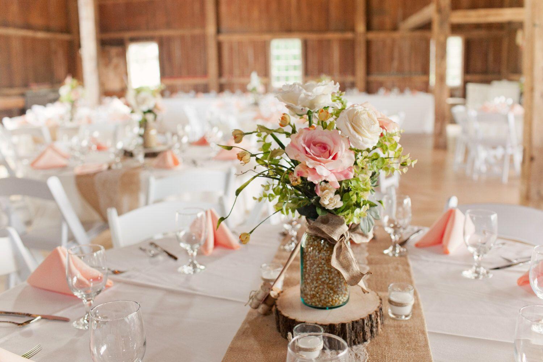 Mason jar floral centerpiece peach flower arrangement