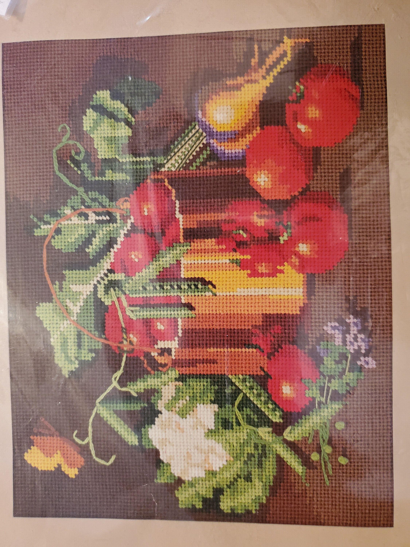 Opened But Never Used Sunset Needlepoint Kit Garden Vegetable